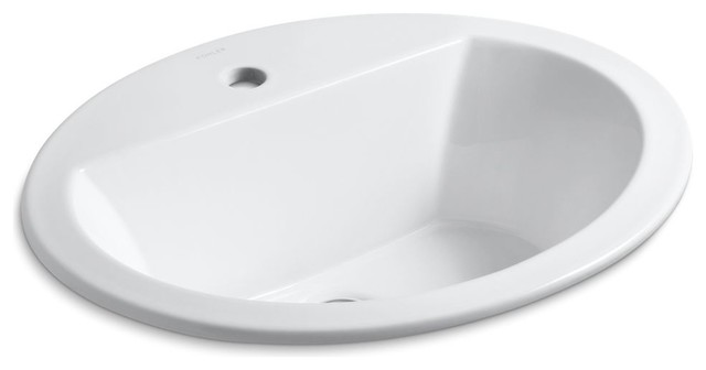 Kohler Bryant Oval Self-Rimming Lavatory With 1-Hole Faucet Drilling, White.