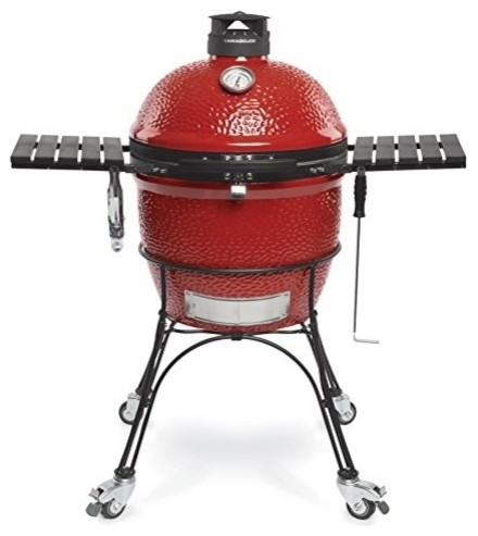 Charcoal Grill, All-Aluminum- Double-Thick Wire Mesh Fiberglass Gaske, Blaze Red.