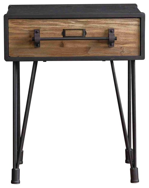 Teton Home Loft Designed Wooden End Table With Drawer.