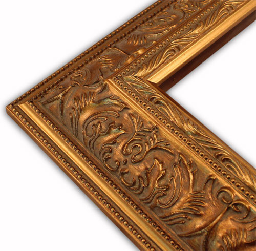 Wide Ornate Gold With Double Beaded Edge Picture Frame, Solid Wood ...