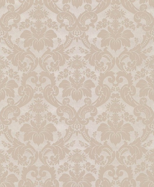 Wallpaper worldwide century classic damask wallpaper for Grey and cream wallpaper