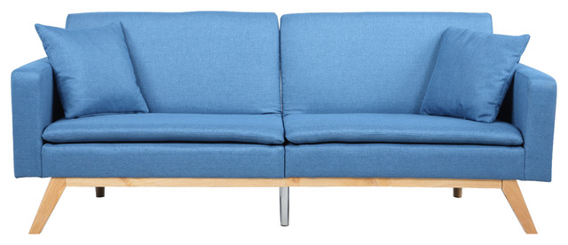 Modern Tufted Linen Splitback Recliner Sleeper Futon Sofa, Blue