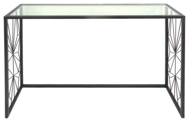 Black Metal Console Table Glass Top Accent Contemporary Console
