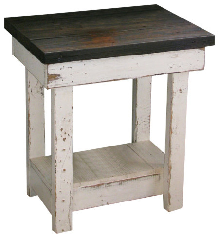 sookie distressed end table, white - rustic - side tables and end ...