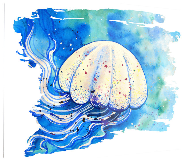 Quot Jellyfish Watercolor Painting Quot Beach Style Metal Wall