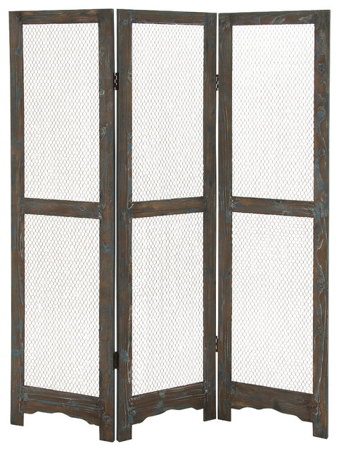 Wood Metal 3 Panel Screen Farmhouse Screens And Room Dividers