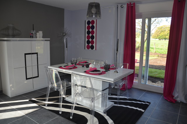 Beautiful salon gris et rose contemporary amazing house for Salon salle a manger gris