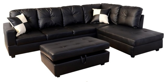 Black Faux Leather Sectional Sofa With Storage Ottoman