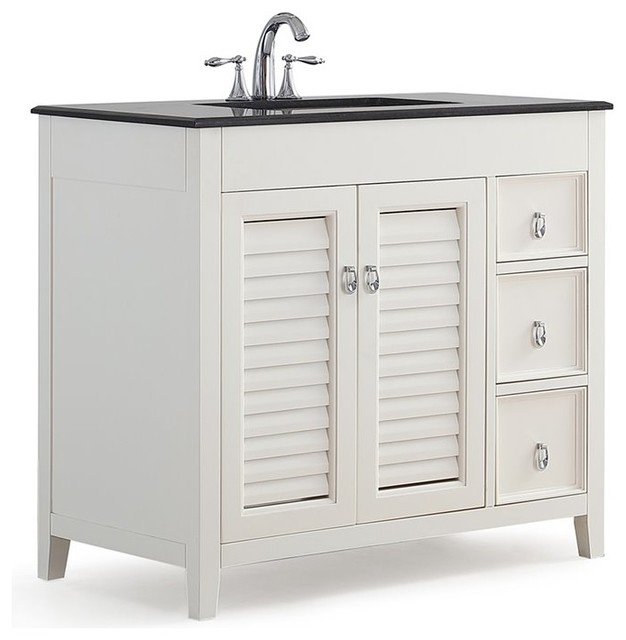"Simpli Home Adele 36"" Black Granite Top Bathroom Vanity, White."