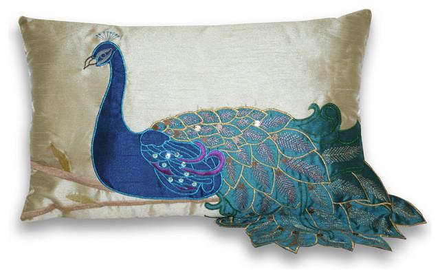 "12""x20"" Fancy Peacock Pillow."