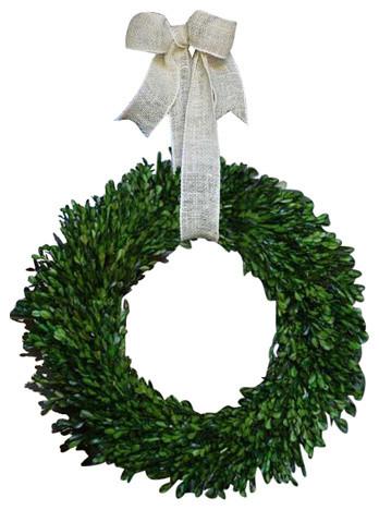 Garden Variety Boxwood Wreath With Burlap Hanger, 22.