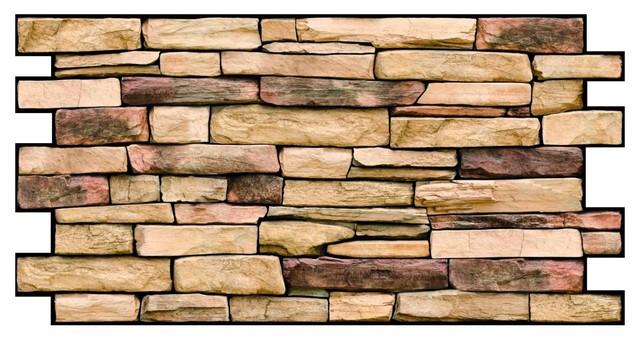 "3d Wall Panel Pvc, 38.69""x19.69"", Natural Stone, Set Of 4."
