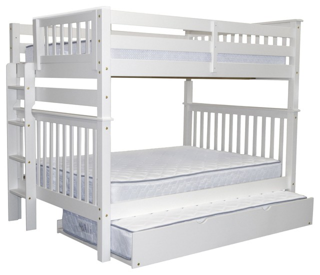 Bedz King Bunk Beds Full Over Full, End Ladder And Twin Trundle, White.