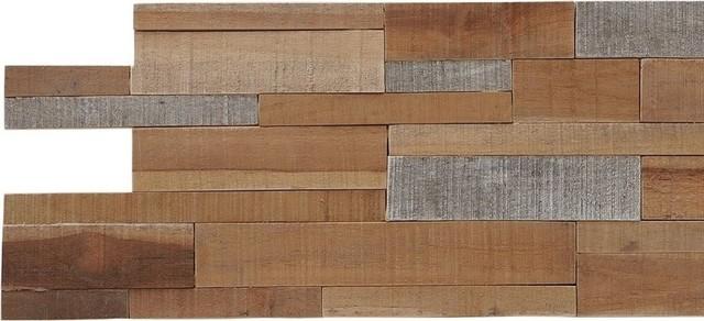 """23.62""""x7.87"""" Kayu Lofts Mix Teak Wall Tiles, Set Of 10."""