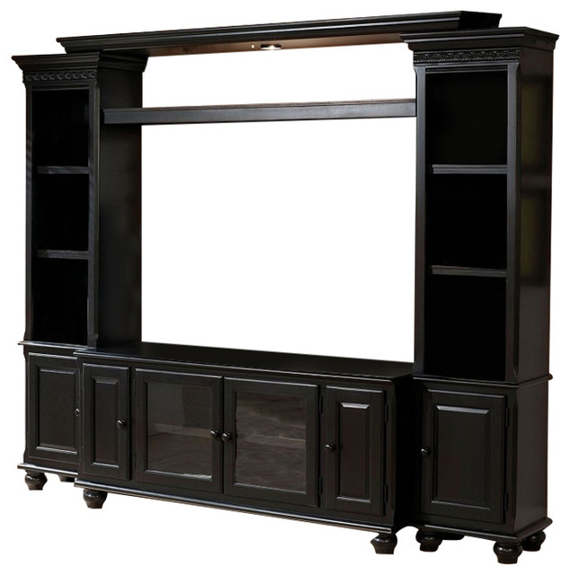 Gentil Ferla Traditional Black Entertainment Center TV Stand Bridge Side Towers