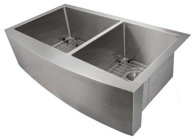 "ZLINE Farmhouse 36"" Undermount Double Bowl Apron Sink, Stainless Steel, SA60D-36"