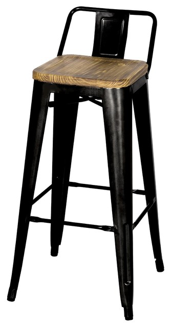 Grand Metal Low-Back Bar Stools Set of 4 Black industrial-bar  sc 1 st  Houzz & Grand Metal Low-Back Bar Stools Set of 4 - Industrial - Bar ... islam-shia.org