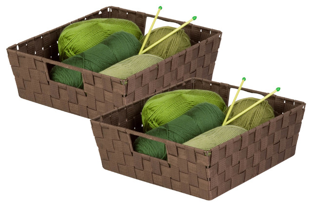 Double Woven Shelf Tote With Handles, Java, Set Of 2