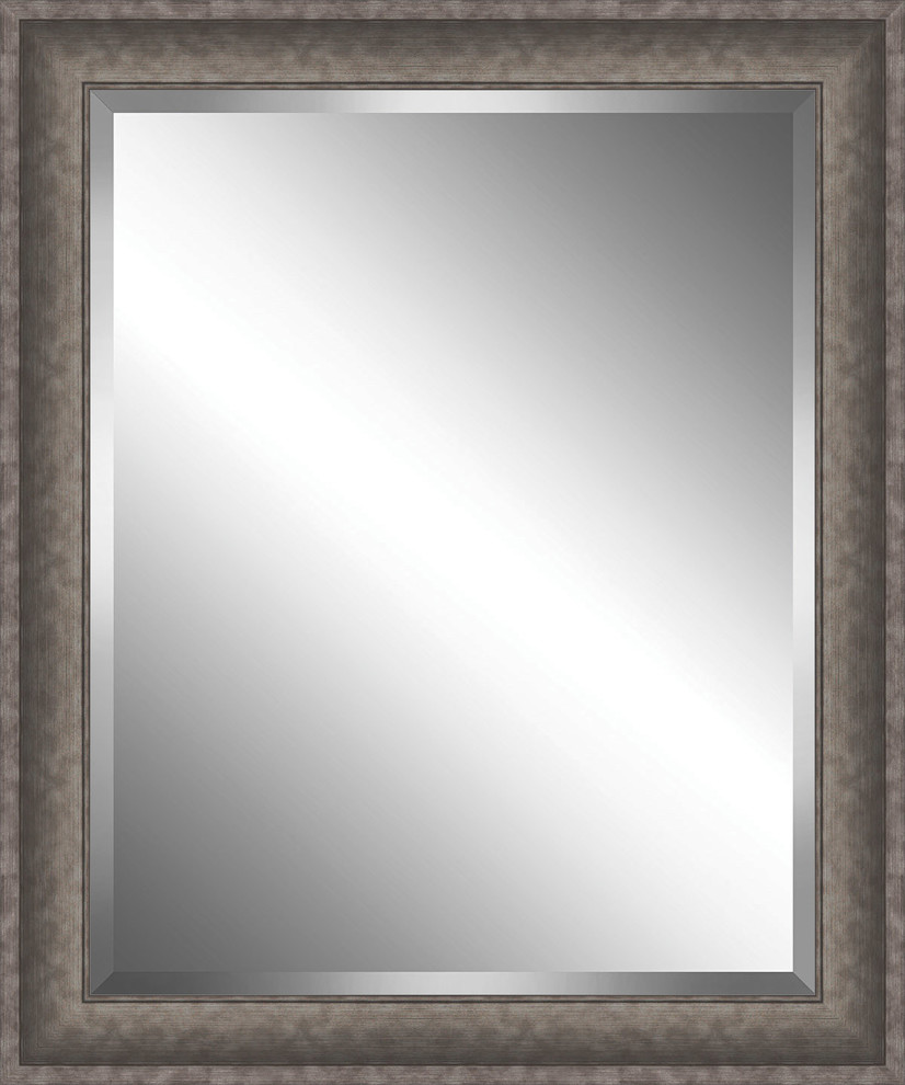 Brushed Silver Grey Framed Beveled Plate Glass Mirror 30 X 36 Transitional Wall Mirrors By Watermark By Somerset House