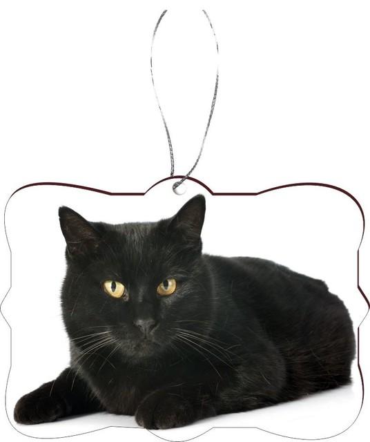 Christmas Tree Made Of Black Cats: Regal Black Cat With Yellow Eyes White Masonite Flat