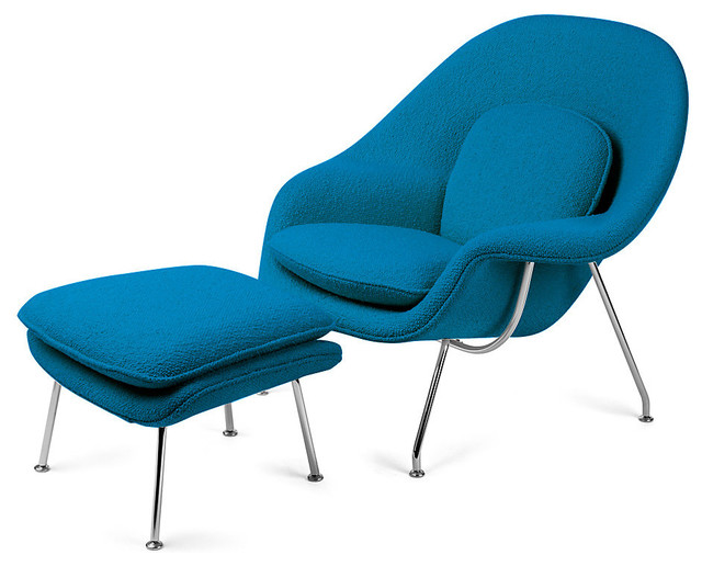 knoll womb chair and ottoman algean boucle - Light Blue Accent Chair