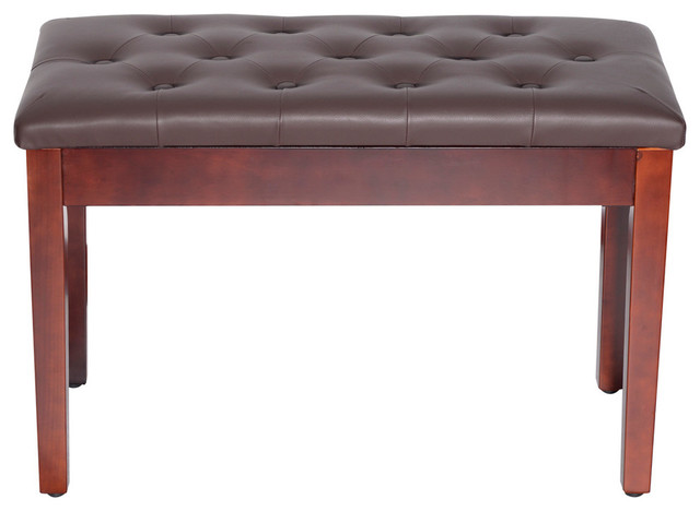 Homcom Faux Leather Padded Double/duet Piano Bench With Music Storage, Brown. -1