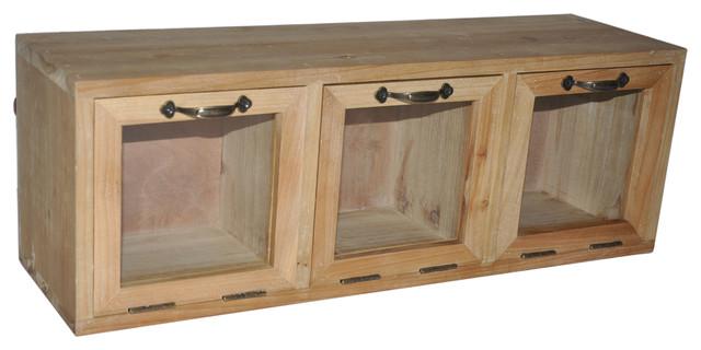 La Paz Wooden Cabinet With Glass Doors Industrial Storage