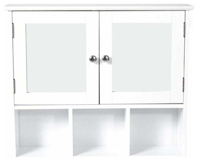 Wall Mounted Storage Cabinet With Mirrored Double Doors and 3 Open Shelves