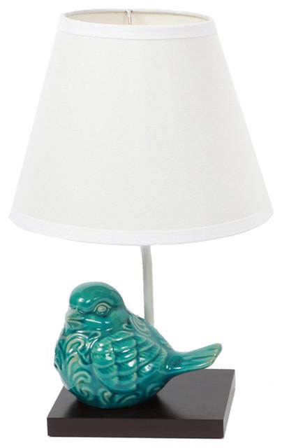 DEI   Ceramic Bird Lamp, Blue Crackle Finish   Table Lamps