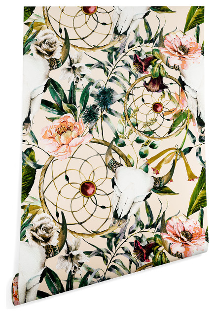 Deny Designs Marta Barragan Camarasa Floral Skull Wallpaper Beige 2x10