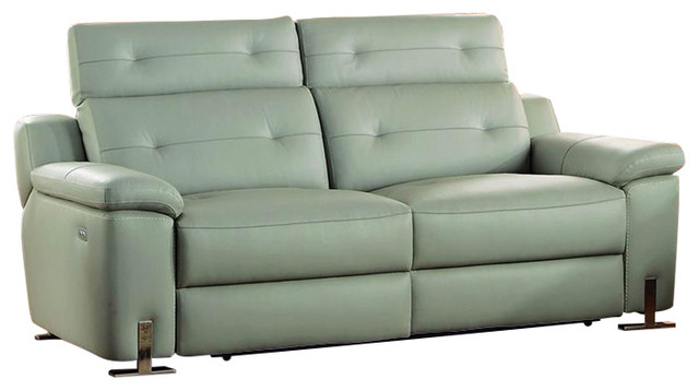homelegance vortex power double reclining sofa in light gray leather