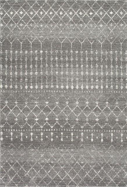 Moroccan Blythe Contemporary Area Rug, Dark Gray, 12'x18'