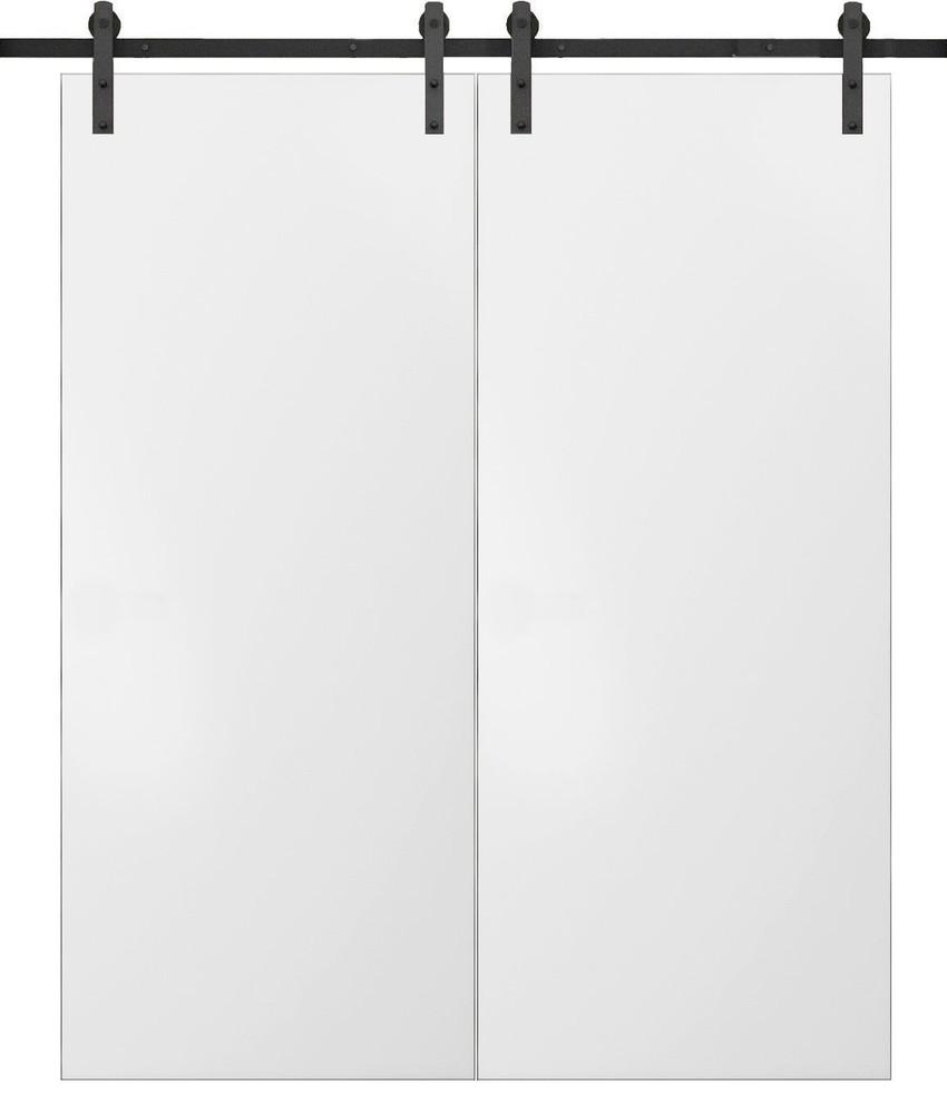 Sliding Double Barn Doors 48 X 80 13ft Rails Planum 0010 White Silk