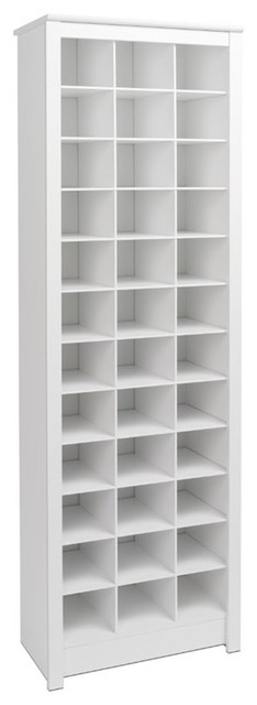Space-Saving 36-Cubby Shoe Storage Cabinet, White.