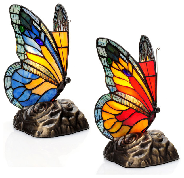River Of Goods Tiffany Style Butterfly Stained Glass Touch Accent