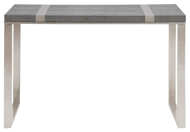 Woodland Imports Cool Stainless Steel Vinyl Console Table Contemporary Tables
