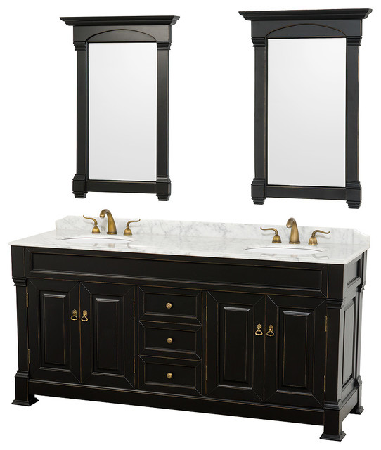 """traditional bathroom vanities with double sink and circle mirror 