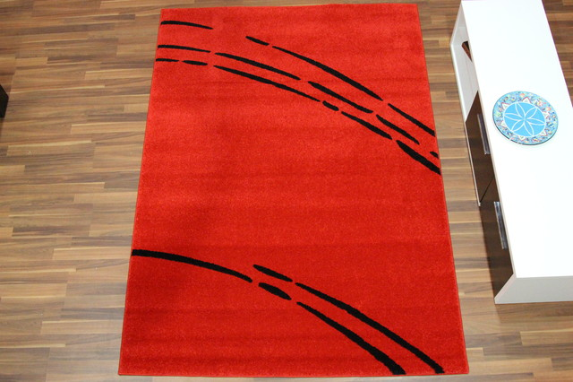 Solid Red Rug With Black Lines Modern Area Rugs