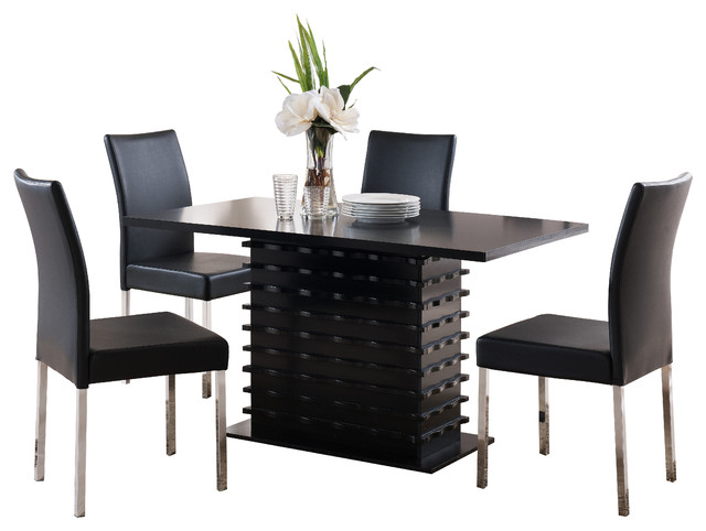 Genial Pilaster Designs   Jacqueline Parsons Chairs And Iris Wave Dining Table Set,  Black And Chrome