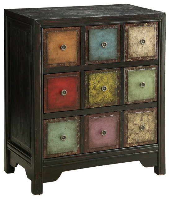 3-Drawer Chest, Conde Weathered Multicolor.