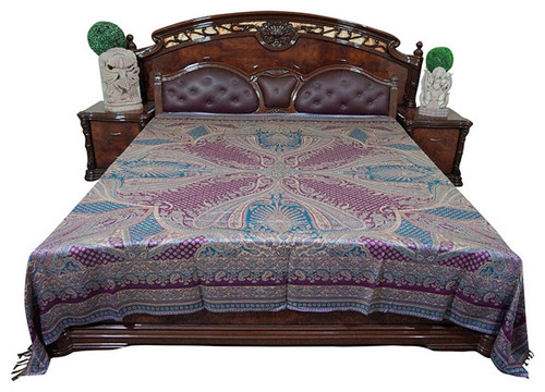 Mogul Moroccan Bedding, Pashmina Wool Blanket Throw, Purple Blue Paisley
