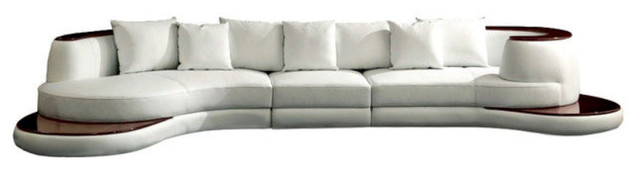 Divani Casa Rodus Rounded Corner Leather Sectional Sofa With Wood Trim