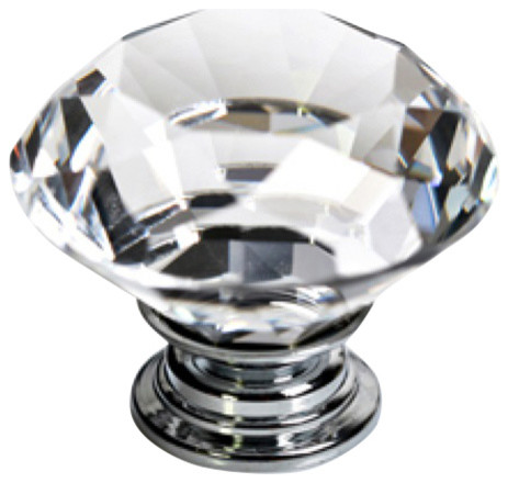 Clear Crystal Glass Knob 40mm - Traditional - Cabinet And Drawer Knobs - by Decorative Knobs