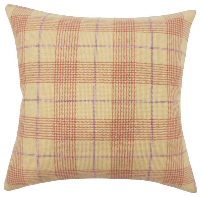 The Pillow Collection Geraint Plaid Bedding Sham Tan Euro 26 X 26