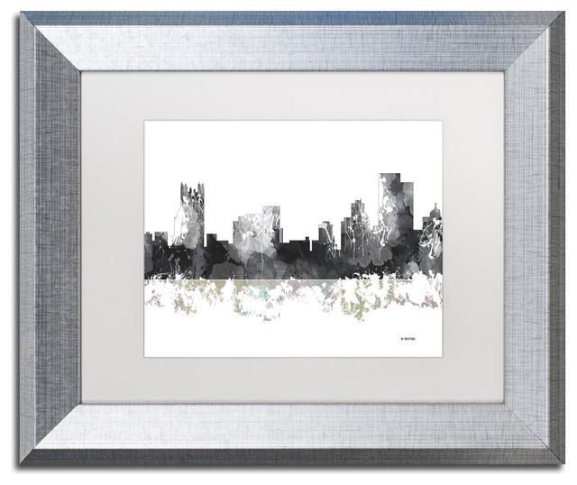 Home Decor Pittsburgh Pa: Marlene Watson 'Pittsburgh PA Skyline BG-1' Framed Art