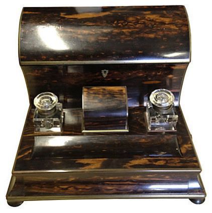Consigned Coromandel Stationery Holder - Consigned Coromandel Stationery Holder - Traditional - Desk