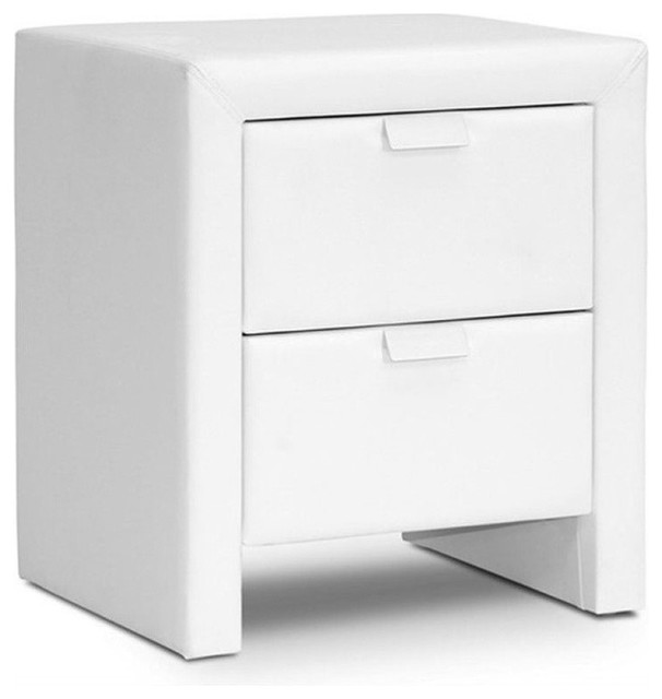 Bowery hill faux leather nightstand white nightstands and bedside bowery hill faux leather nightstand white watchthetrailerfo