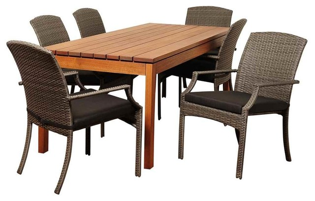 Walton 7-Piece Eucalyptus And Wicker Rectangular Dining Set With Grey Cushions.