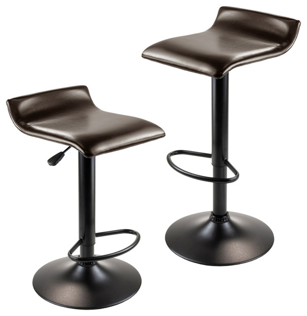 Paris Airlift Adjustable Swivel Stools, Set of 2, Leather Seat, Black
