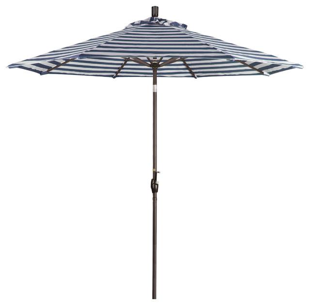 9&x27; Aluminum Market Umbrella Collar Tilt, Bronze, Olefin, Navy White Stripe.